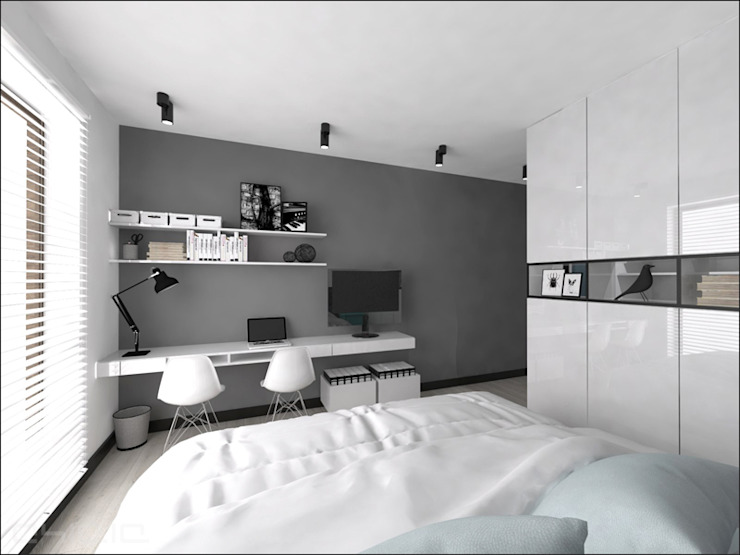 Brzeska Minimalistyczna sypialnia od OHlala Wnętrza Minimalistyczny