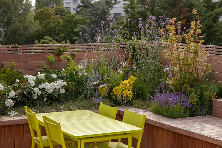 Garches Toit Terrasse AD Concept Gardens Balcon, Veranda & Terrasse modernes
