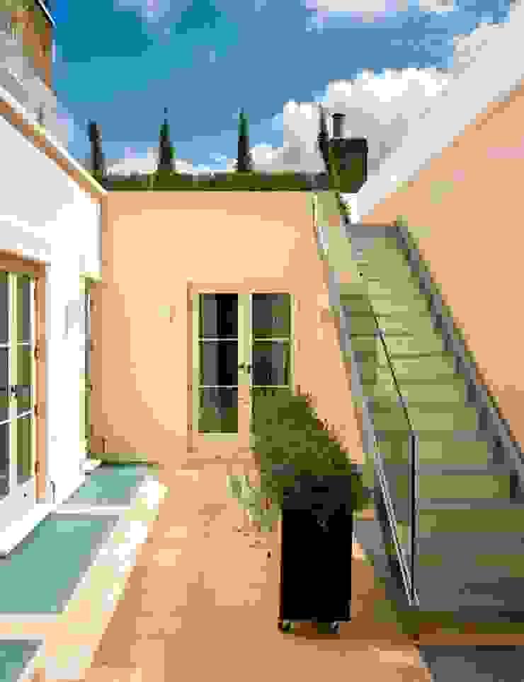 External frameless glass balustrade and mezzanine floor Minimalist style garden by Ion Glass Minimalist