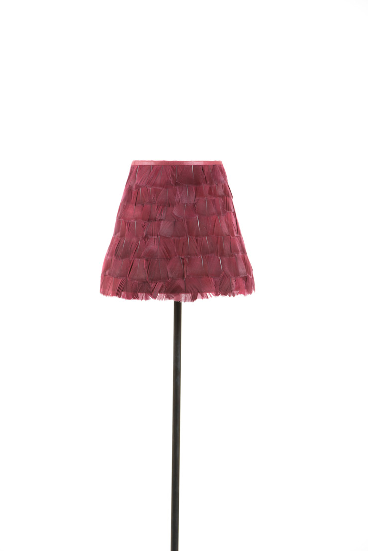 Burgundy feather lampshade: classic  by A Shade Above, Classic