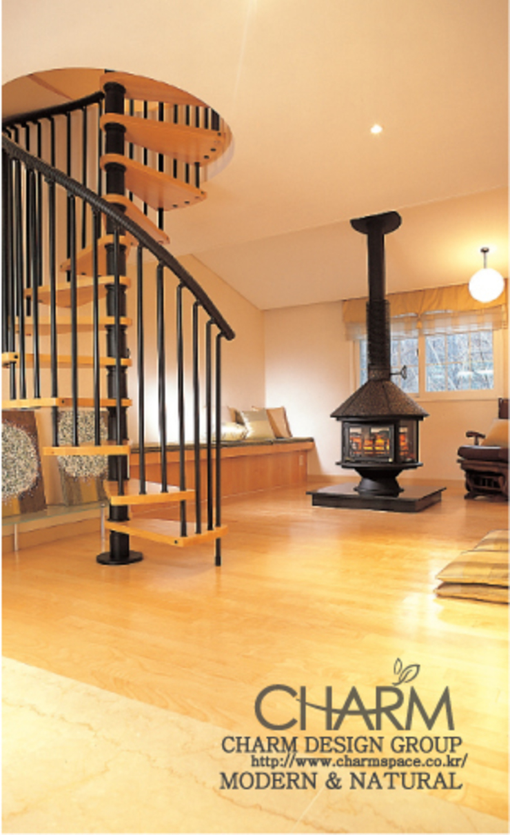 모던 내추럴 하우스 클래식스타일 복도, 현관 & 계단 by 참공간 디자인 연구소 클래식