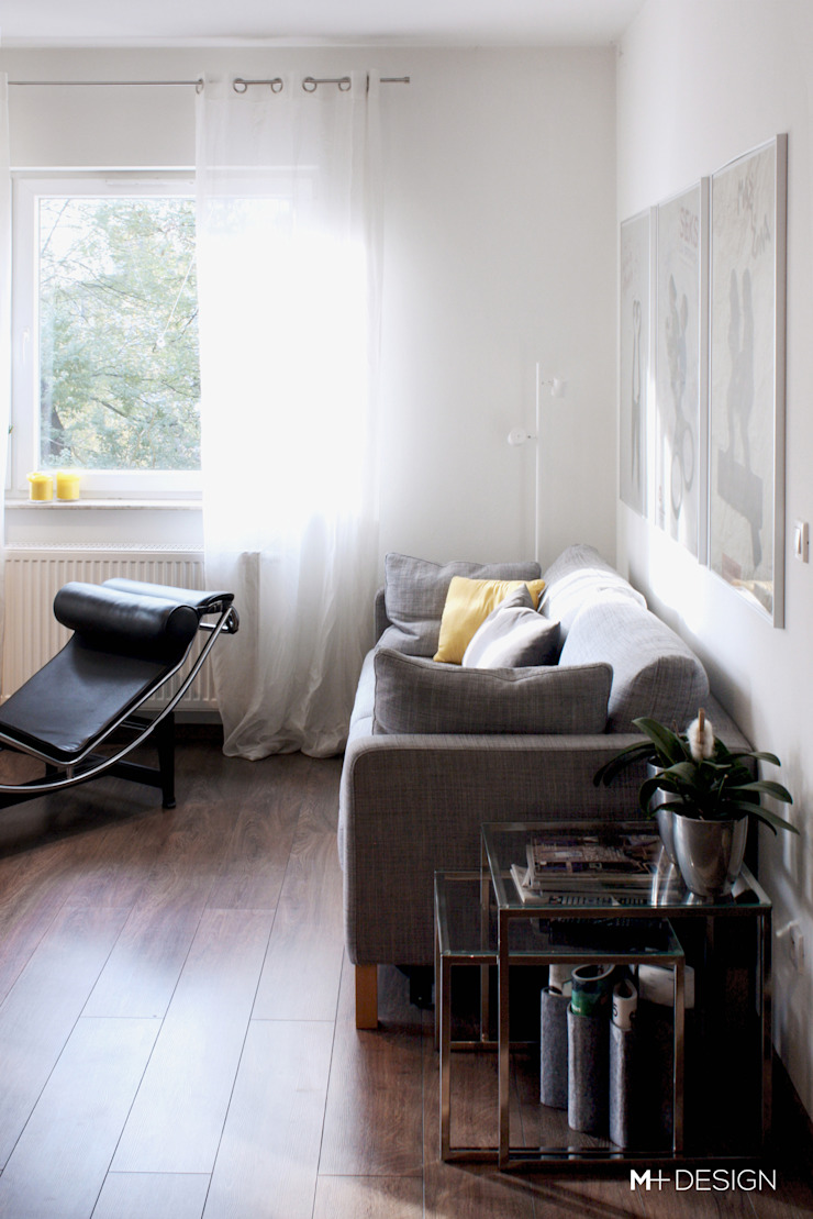 Mieszkanie 64m2 Minimalistyczny salon od M+ DESIGN Marta Dolnicka Marchaj Minimalistyczny