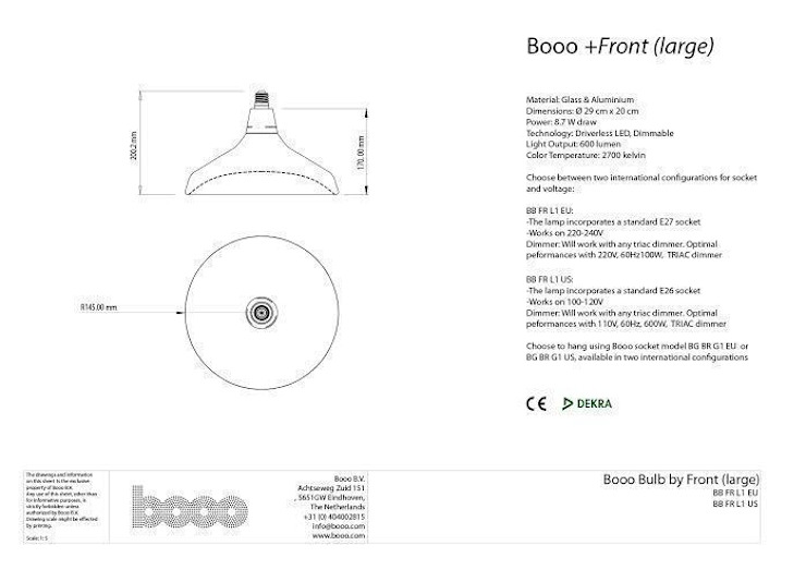 The specsheet of the large sized lamp van Booo BV