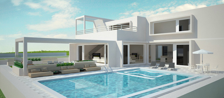 White retreat Minimalist pool by Neotecture Minimalist