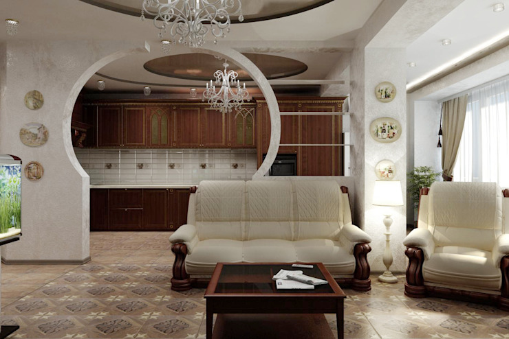 Классическая гостиная. Дизайн проект. Гостиная в классическом стиле от Цунёв_Дизайн. Студия интерьерных решений. Классический