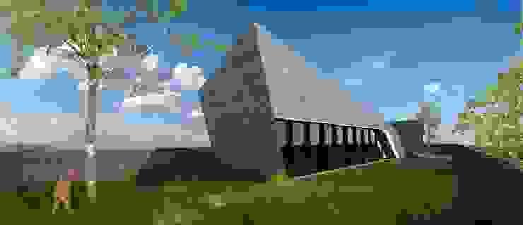 PT - Perspectiva Este, EN - East Perspective, FR - Perspective Est Casas modernas por Office of Feeling Architecture, Lda Moderno