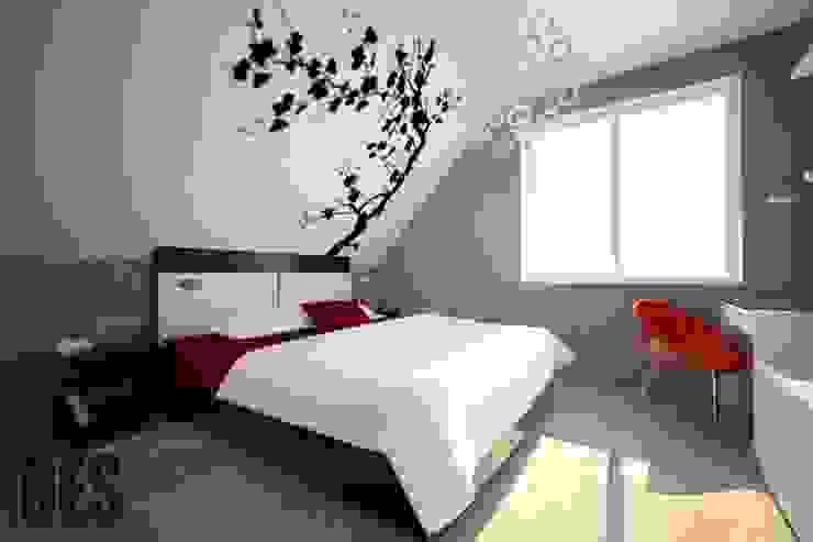 Projekt mieszkania Mysłowice Minimalistyczna sypialnia od OES architekci Minimalistyczny