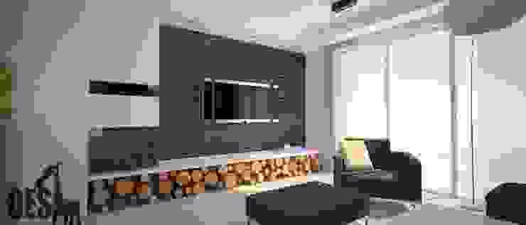 Projekt mieszkania Mysłowice Minimalistyczny salon od OES architekci Minimalistyczny
