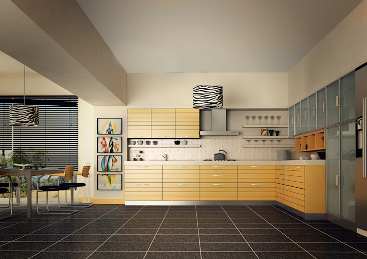 BA DESIGN – YELLOW KITCHEN: modern tarz , Modern