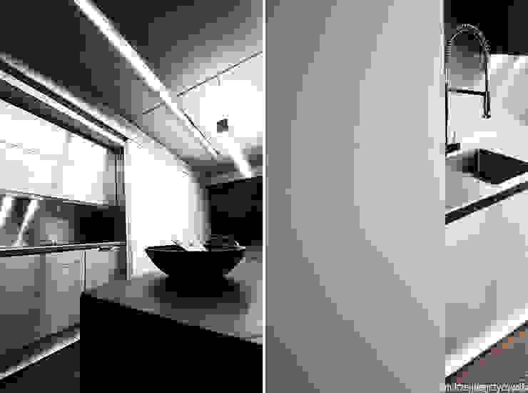 Aranżacja wnętrza mieszkania w Gdyni Minimalistyczna kuchnia od ANIEA Minimalistyczny