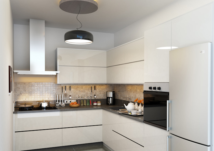 White kitchen Modern Mutfak BA DESIGN Modern