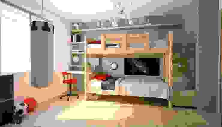 Projekt mieszkania Mysłowice Minimalistyczny pokój dziecięcy od OES architekci Minimalistyczny