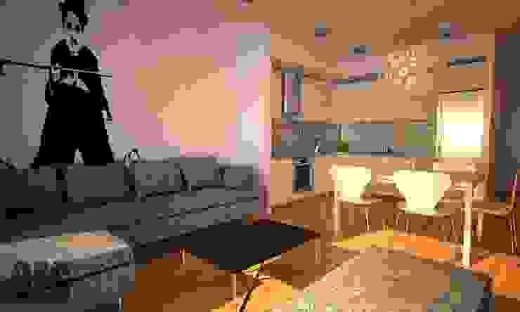 Projekt mieszkania Katowice Nowoczesny salon od OES architekci Nowoczesny