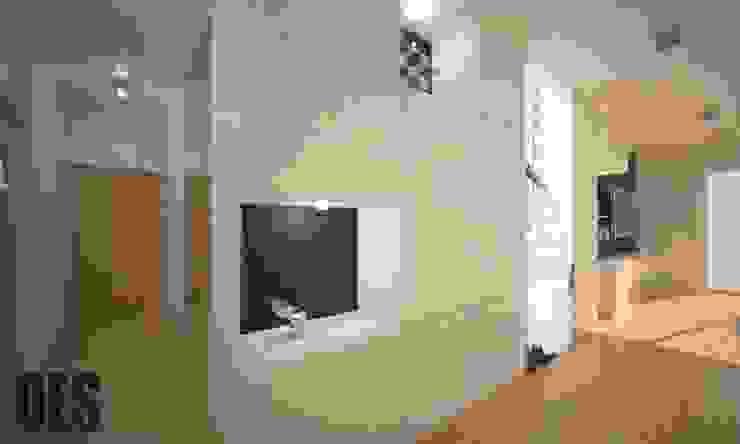 Projekt mieszkania Katowice Nowoczesny korytarz, przedpokój i schody od OES architekci Nowoczesny