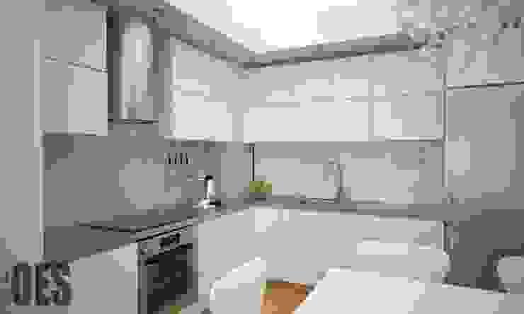 Projekt mieszkania Katowice Minimalistyczna kuchnia od OES architekci Minimalistyczny