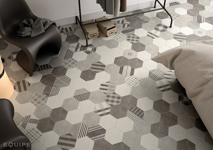 Hexatile Cement White, Grey, Black, Decor GEO Grey 17,5x20 Dormitorios de estilo moderno de Equipe Ceramicas Moderno