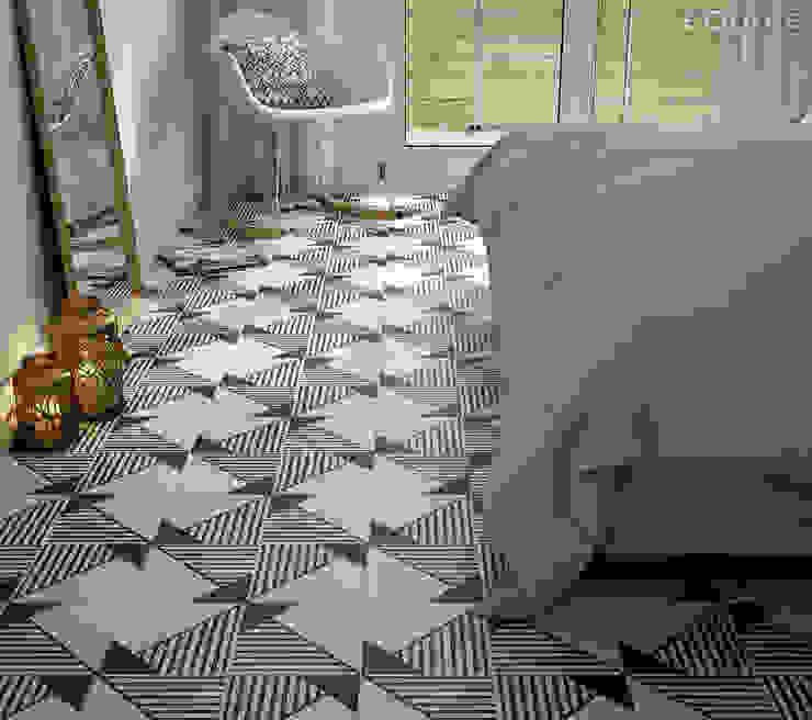 Caprice DECO Origami B&W 20x20 Dormitorios de estilo ecléctico de Equipe Ceramicas Ecléctico