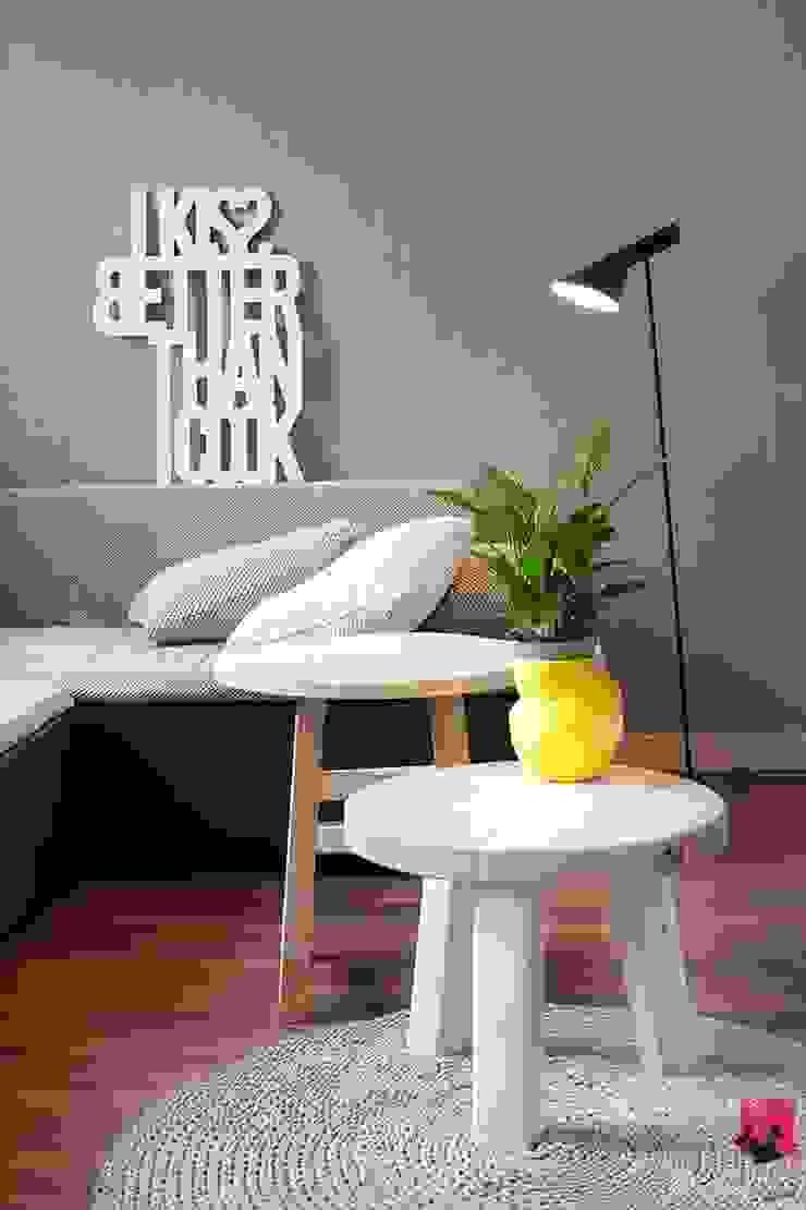 Mieszkanie w Łodzi – 48m2 Nowoczesny salon od Pink Pug Design Interior Nowoczesny