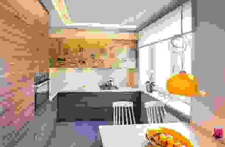 Mieszkanie w Łodzi – 48m2 Nowoczesna kuchnia od Pink Pug Design Interior Nowoczesny