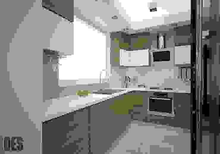 Projekt mieszkania Sosnowiec Nowoczesna kuchnia od OES architekci Nowoczesny