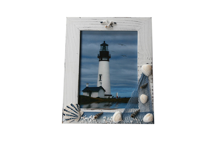Uberlyfe Beach Theme Table Mounted Photo Frame 6 by 8 - Shells: rustic  by Uberlyfe,Rustic