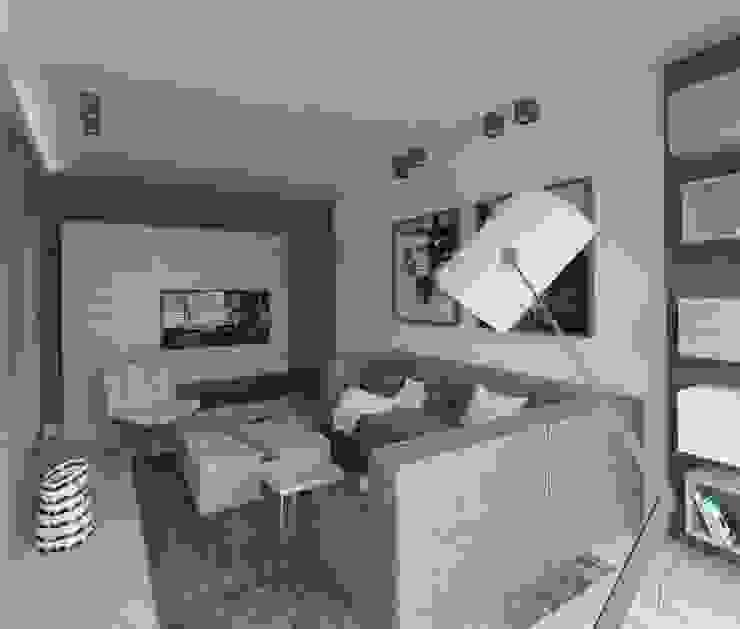 Apartament 100m2 Warszawa Nowoczesny salon od The Vibe Nowoczesny