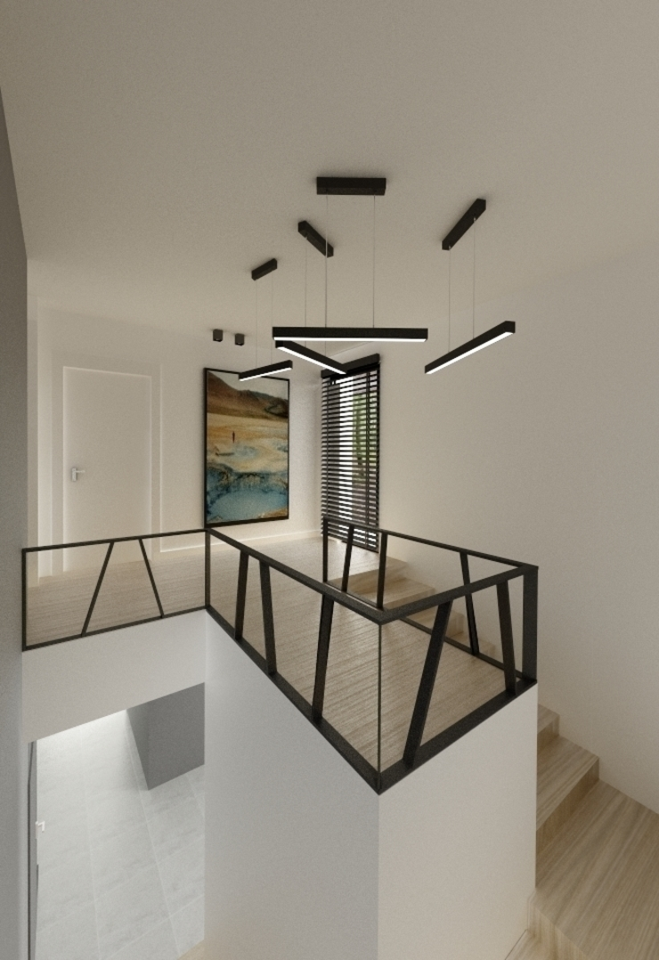 Wnętrza Domu w Warszawie Minimalistyczny korytarz, przedpokój i schody od The Vibe Minimalistyczny