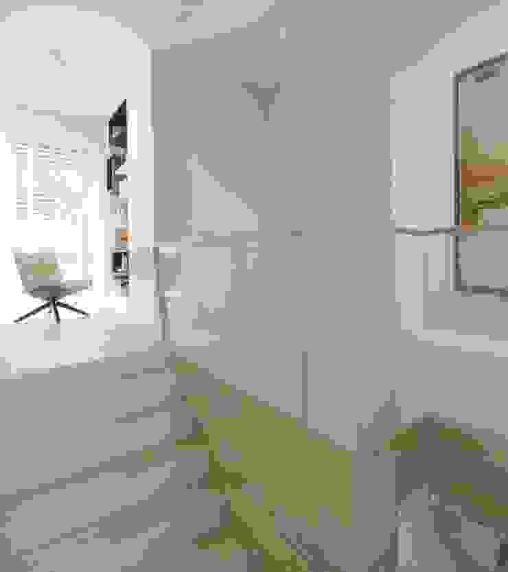 Minimalistyczny Dom Warszawa Minimalistyczny korytarz, przedpokój i schody od The Vibe Minimalistyczny