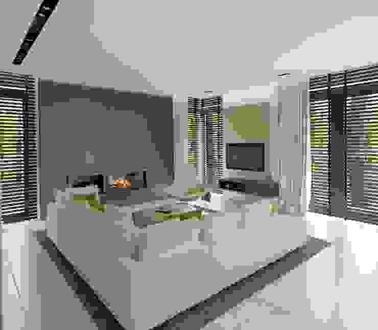 Wnętrza Domu w Warszawie Minimalistyczny salon od The Vibe Minimalistyczny