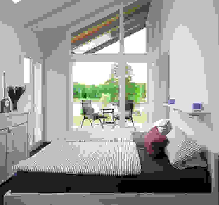 Schlafzimmer einer der Wohnungen Moderne Schlafzimmer von Stockwerk Orange Modern
