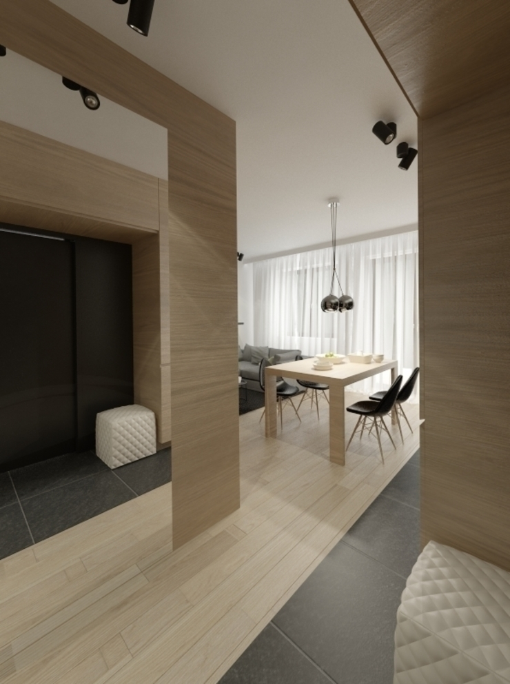 Apartament 60m2 Puławy Minimalistyczny korytarz, przedpokój i schody od The Vibe Minimalistyczny