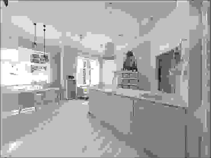 Aneks kuchenny Skandynawski salon od OHlala Wnętrza Skandynawski