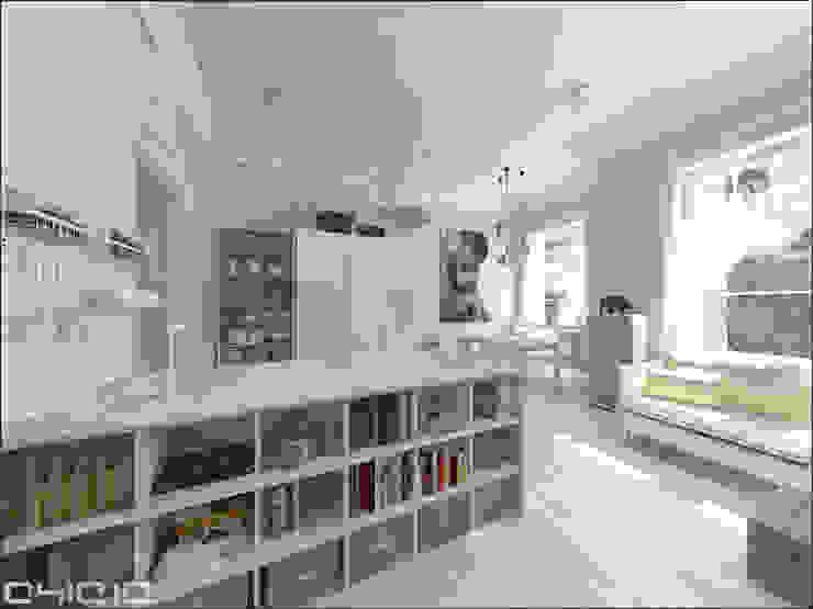 Salon z aneksem kuchennym Skandynawski salon od OHlala Wnętrza Skandynawski
