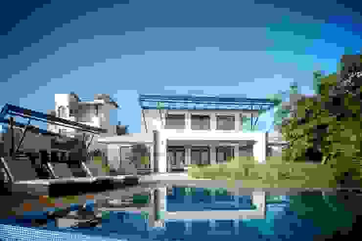Vista de Fachada Posterior Casas de estilo moderno de sanzpont Moderno
