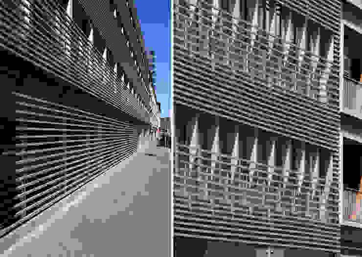 Dettagli facciata su via Fara Pareti & Pavimenti in stile moderno di Studio di Architettura Fabio Nonis Moderno