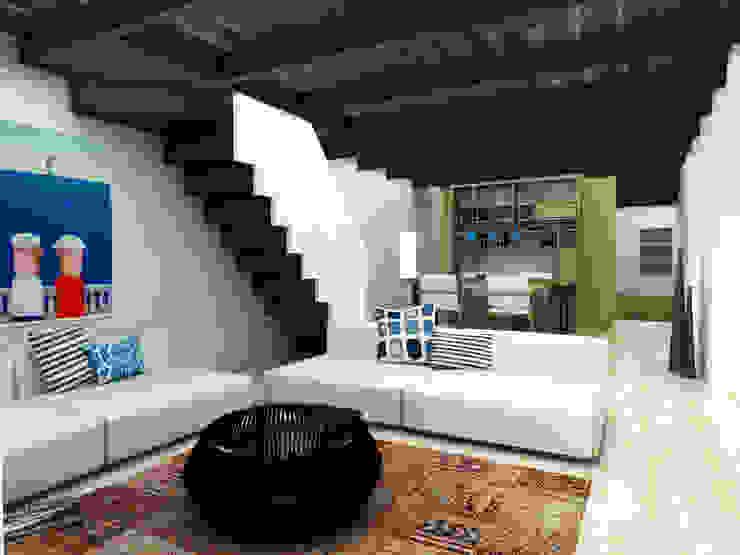 Restorated House 2 Living Room Akdeniz Oturma Odası Atelye 70 Planners & Architects Akdeniz
