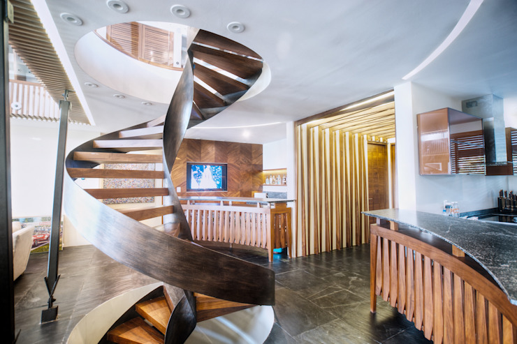Modern Corridor, Hallway and Staircase by sanzpont [arquitectura] Modern