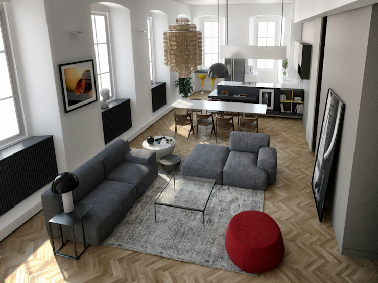 Seamless Parquet Flooring by The Wood Galleries Modern living room by The Wood Galleries Modern