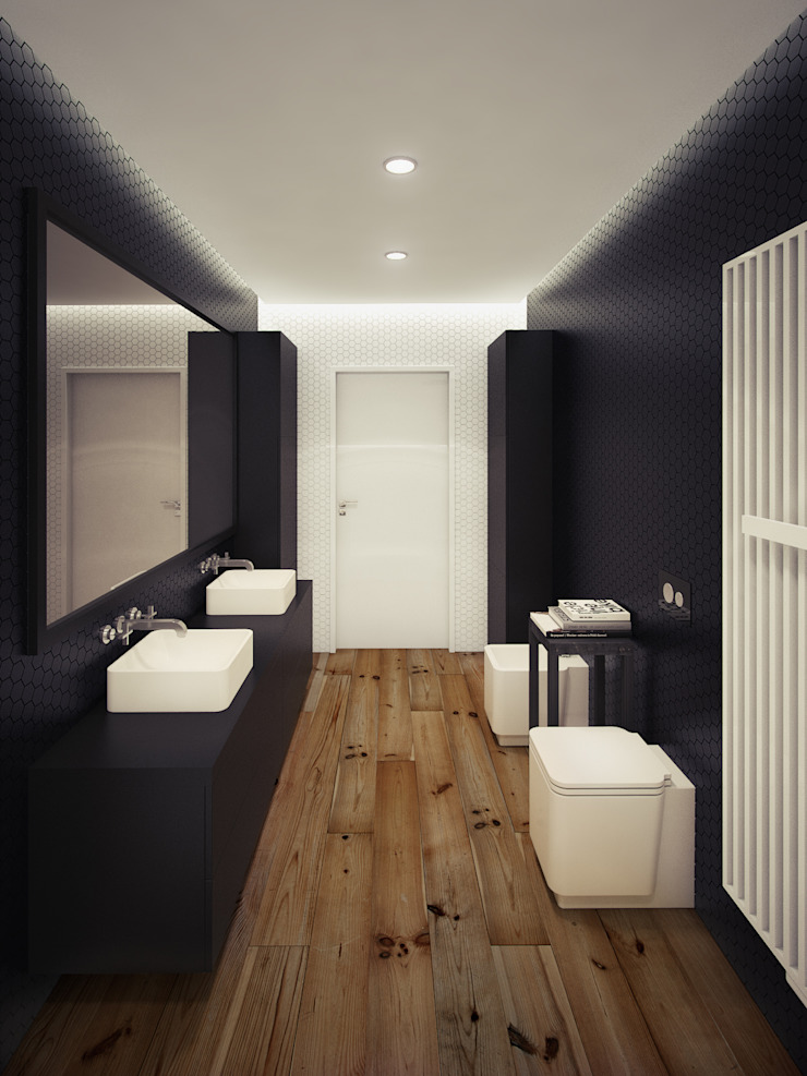 The Toiletry - A Beautiful Apartment in London by The Wood Galleries Modern walls & floors by The Wood Galleries Modern
