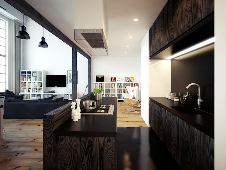 Open Plan Kitchen - A Beautiful Apartment in London by The Wood Galleries Modern walls & floors by The Wood Galleries Modern