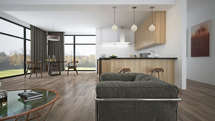 Black American Walnut & Open Plan Living by The Wood Galleries Minimalist living room by The Wood Galleries Minimalist