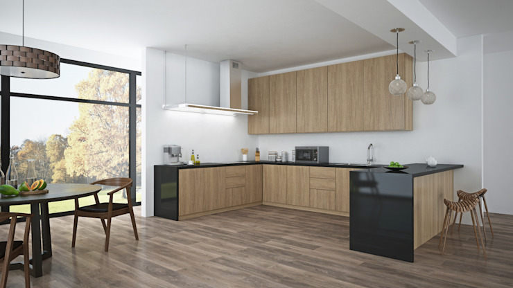 Black American Walnut & Open Plan Living by The Wood Galleries Cocinas de estilo minimalista de The Wood Galleries Minimalista