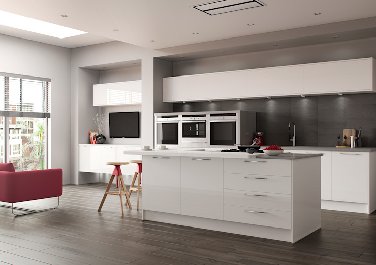 Luxor White High Gloss: modern  by Sigma 3 Kitchens, Modern