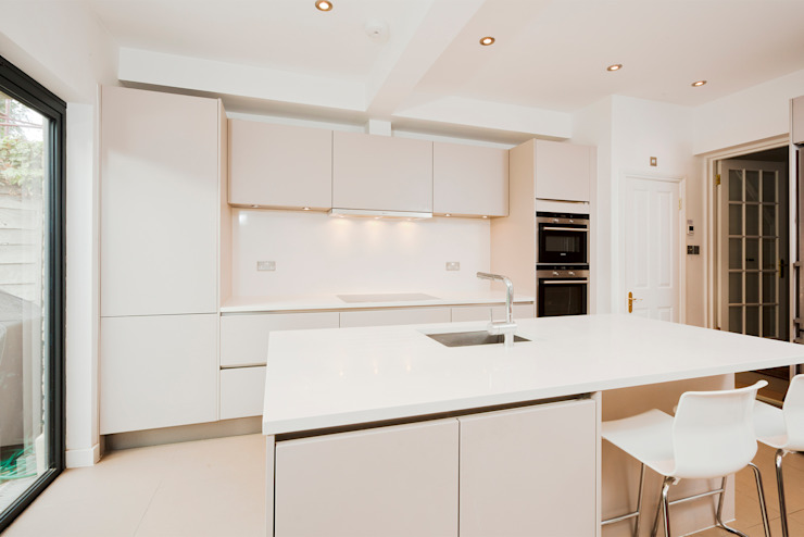 Cashmere kitchen island extension LWK London Kitchens 現代廚房設計點子、靈感&圖片