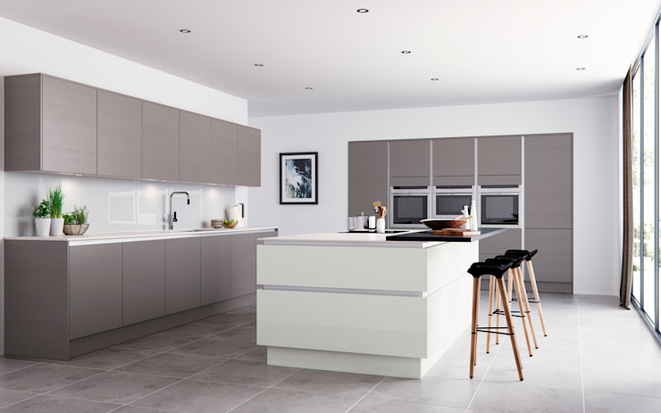 Roxbury Grained Stone and Matt White: minimalist  by Sigma 3 Kitchens, Minimalist
