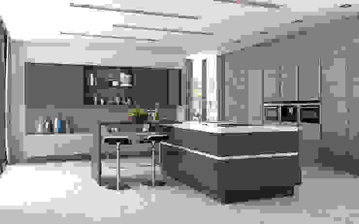 Nixon Graphite Gloss and Sienna Bardolino Oak: minimalist  by Sigma 3 Kitchens, Minimalist