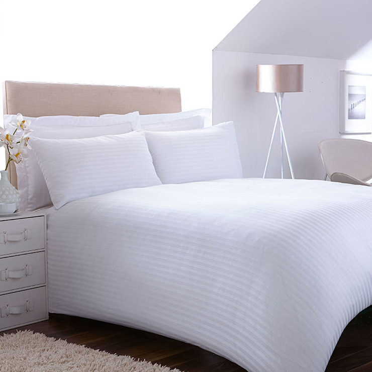 "Charlotte Thomas ""Satin Stripe"" Bed Set in White: modern  by We Love Linen, Modern"