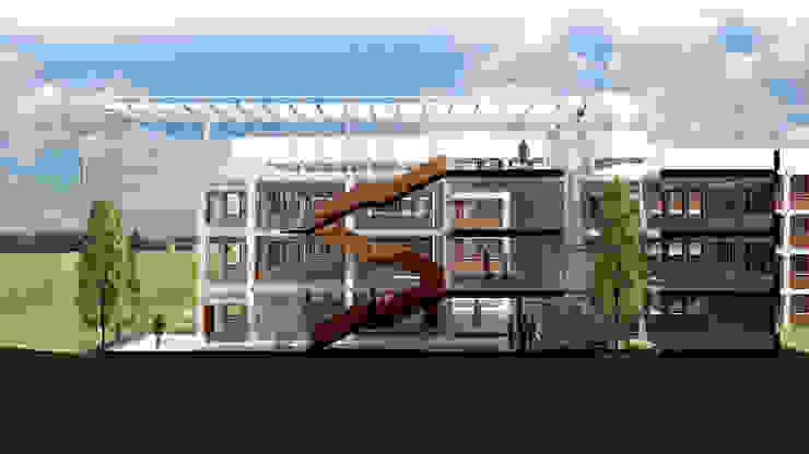 Sección interior atrio Edificios de oficinas de estilo ecléctico de atelier Victor Salme Ecléctico