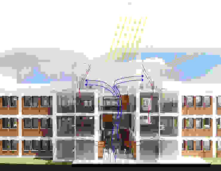 Sección atrio. Funcionamiento bioclimático. Edificios de oficinas de estilo ecléctico de atelier Victor Salme Ecléctico
