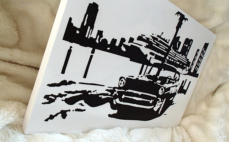 Samochód na tle promu - nowoczesny obraz od portrety w drewnie pl: styl , w kategorii  zaprojektowany przez Portrety w drewnie pl,Industrialny